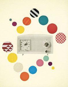 Geometric Art, Retro Wall Art, Pop Art, Music Print, Teenage Decor, Colorful, Vintage Radio, Giclee Print - Radio Times