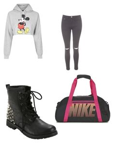 """Untitled #998"" by karinacabrera ❤ liked on Polyvore featuring Topshop, Glamorous and NIKE"