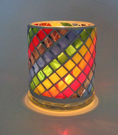 Stained glass mosaic candle holder rainbow por threesisterscandles