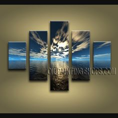 Beautiful Contemporary Wall Art Oil Painting On Canvas Panels Stretched Ready To Hang Sunset. This 5 panels canvas wall art is hand painted by E.Cheung, instock - $175. To see more, visit OilPaintingShops.com
