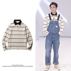 Bts jungkook striped polo shirt and overalls set - all ulzzang idols fashion kpop clothes store Korean Fashion Ulzzang, Korean Fashion Winter, Korean Fashion Summer, Korean Fashion Casual, Korean Street Fashion, Korean Outfits, Fashion Black, Fashion Fashion, Ulzzang Style