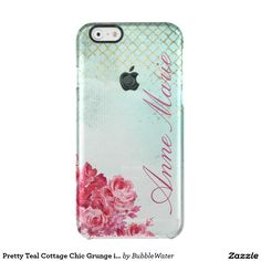 Pretty Teal Cottage Chic Grunge iPhone 6 Case Uncommon Clearly™ Deflector iPhone 6 Case