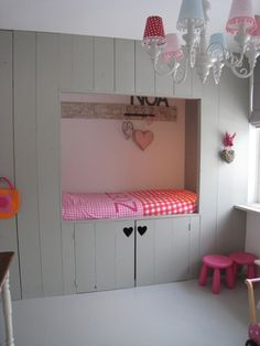sleeping nook - Would LOVE to do this in the girls room! I could imagine doing 2 on one wall & 1 on another wall. Diy Interior, Home Bedroom, Girls Bedroom, Kids Room Bed, Ideas Habitaciones, Sleeping Nook, Bed Nook, Home And Deco, Little Girl Rooms