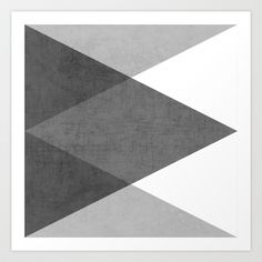 black and white triangles Art Print by her art - $18.00