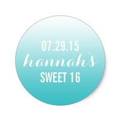 Aqua Ombre Gradient Sweet Sixteen Favor Sticker
