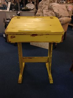 Old school desk painted English yellow