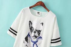 Batwing Sleeves Navy Dog Printing Chiffon Blouse