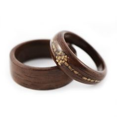 """Nuts About You"" Walnut with Walnut Shell Inlay Wedding Ring Set"