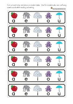 FREE Short Vowels Cue Cards- cue cards for student desks.  Helpful for students who are confusing short vowel sounds