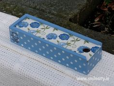 Blue Pencil Box with - Perfect for Young Girls! Pencil Boxes, Dublin, Decoupage, Decorative Boxes, Arts And Crafts, Handmade Gifts, Girls, Blue, Kid Craft Gifts