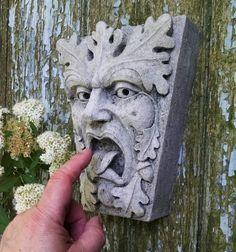 Green Man, Mouth of Truth, Keystone leaf face, greenman, Garden art, Renaissance element, medieval sculpture, gothic New York, Chalifour