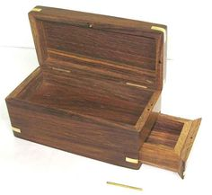 Handmade Wooden Box With Hidden Compartment For Deck Cards Jewellery Gift