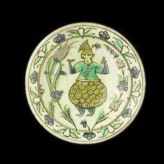 Iznik figural pottery dish, Turkey, 17th century.
