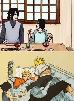 Sasuke with his daughter Sarada, and Naruto with his kids Boruto and Himuwari Anime Naruto, Naruto Shippuden Sasuke, Naruto Und Hinata, Naruto Gaiden, Sarada Uchiha, Naruto Cute, Sakura And Sasuke, Shikamaru, Naruto Family