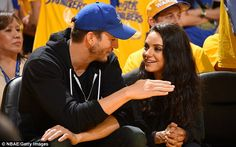 Ashton Kutcher and wife Mila Kunis kiss at NBA Finals game at Oracle Arena | Daily Mail Online