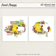"""""""All About Me"""" Templates by Two Tiny Turtles #digitalscrapbooking #digitalscrapbookingtemplates"""