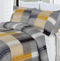 Modern Casual Gold Grey Plaid 100-percent Egyptian Cotton Duvet Cover and Shams Set -  Soft and cozy bedding set for any boys or men bedroom