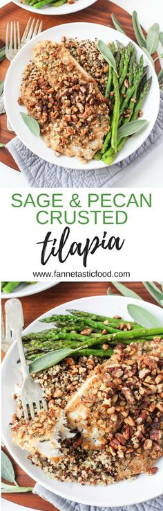 This Sage & Pecan Crusted Tilapia is the perfect dish for impressing dinner guests, but it's easy enough to make any night of the week! It's nutty, crunchy, buttery, and not at all fishy - perfect for people who are new to eating fish! Gluten free & dairy