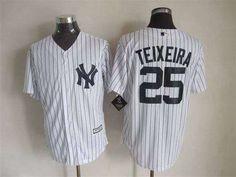 Men's New York Yankees #25 Mark Teixeira 2015 New White Black Pinstripe Jersey
