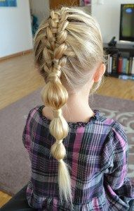 Suspended infinity braid into a bubble ponytail