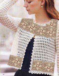 Fabulous Crochet a Little Black Crochet Dress Ideas. Georgeous Crochet a Little Black Crochet Dress Ideas. Crochet Bolero Pattern, Crochet Cardigan Pattern, Crochet Jacket, Crochet Blouse, Pull Crochet, Mode Crochet, Knit Crochet, Crochet Tops, Crochet Shrugs