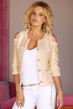 Trending Fashion   Women's Blush Pink Tweed Cold-Shoulder Jacket by Boston Proper.