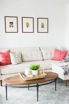 A pop of coral pillows: http://www.stylemepretty.com/living/2015/08/11/utah-home-tour/   Photography: Kate Osborne - http://kateosbornephotography.com/