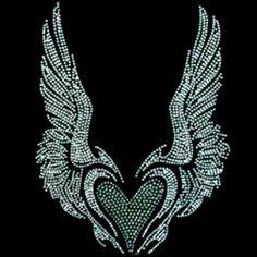 11x14  - WINGED HEART (STONES / STUDS) - heart, rhinestones, rhinestuds, winged heart, wings, Bling, Material Transfer, Hearts & Love, Wings