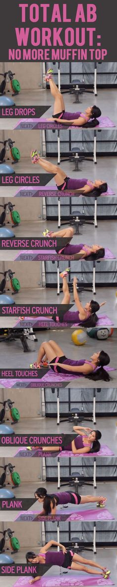 This workout will show you some of the best ab exercises for toning and slimming your waist and abs to banish that muffin top for good. #lovehandles #flatstomach #flatbelly