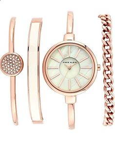 Anne Klein Women's AK/1470RGST Rose Gold-Tone Bangle Watch and Bracelet Set. Go to the website to read more description.