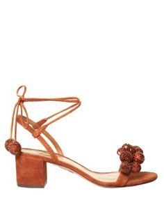 Disco sequinned-pompom suede sandals | Aquazzura | MATCHESFASHION.COM