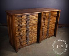 Vintage Industrial 48 Drawer Hamilton Oak Flat File Drafting Cabinet