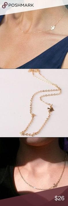 """""""Dogeared"""" Inspirational gold bird simple necklace PRICE FIRM. dogeared style (not dogeared just labeled that for visibility) gold colored 15"""" chain with mini bird pendant and inspirational message necklace card. Simple is so beautiful and elegant. Dogeared Jewelry Necklaces"""