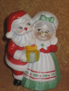 Vintage Mr. and Mrs. Santa Claus Bell JSNY Taiwan Christmas Collectible Figure | eBay