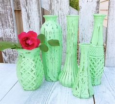 Shabby Chic Mint Green Vintage Painted Vases, Set of 5. $28.00, via Etsy.