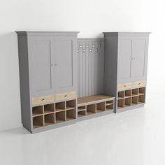 From our new boot room catalogue - a CGI render of our Classic Collation No. 12 This is one of the largest of our collations with 2 double width partner cabinets either side of the settle. Hallway Cupboards, Mudroom Cabinets, Mudroom Laundry Room, Laundry Room Design, Boot Room Storage, Porch Storage, Coat Storage, Locker Storage, Garage Storage