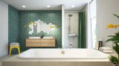 Grüne Fliesen und gelbe Lampen bringen Farbe ins Badezimmer HAPPY TOUCH