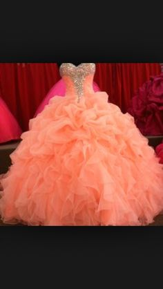 Coral quinceanera dress