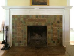Arts and Crafts Fireplace by Pasadena Craftsman Tile (providers of handmade deco…, – farmhouse fireplace tile Fireplace Tile, Wooden Fireplace, Craftsman Fireplace, Craftsman Bungalows, Fireplace Design, Fireplace Seating, Fireplace Remodel, Craftsman Tile, Fireplace Art