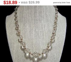 True vintage graduated round crystal glass bead necklace Strung on fine chain, with a gold filled clasp Perfect wedding jewelry for a bride Beads range from 6-14 mm 18.5 inches long Unsigned Good vintage condition, a few small flea bites are possible International buyers welcome,