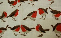 Linen tea towel with robins . . . a classic.  I have one that was my mom's, and an older friend gave me another.