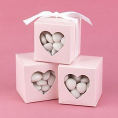 White Favor Box With Heart Shaped Window (Set of 12) – USD $ 6.99