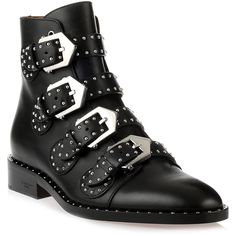 Elegant Flat Black Leather Boot (9.705 NOK) ❤ liked on Polyvore featuring shoes, boots, black, black bootie, black leather boots, short leather boots, black boots and black studded boots