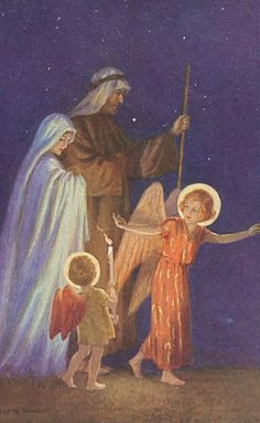 The Flight Into Egypt: Margaret Tarrant Catholic Art, Religious Art, Jesus Jose Y Maria, Angel Guide, O Holy Night, Holy Family, Holiday Postcards, Blessed Mother, Sacred Art