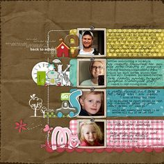 This would be a neat idea to start a new scrapbook or a new year...where everyone is in the family. I like the line of photos down the middle and the journaling off to the side.