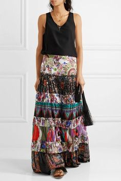 Roberto Cavalli - Tiered Printed Cotton-voile Maxi Skirt - Purple - IT48