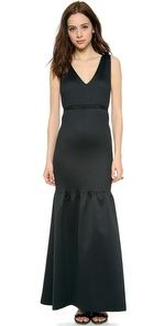 V Neck gown with pin tucks