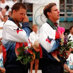 Karch Kiraly and Kent Steffes at 1996 Olympics in Atlanta. I got to watch the Gold Medal Round against Mike Whitmarsh and Mike Dodd. A great time that summer!