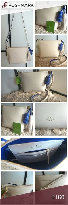Kate Spade Cream and Blue Foster Court Purse Authentic NWT kate spade purse. Cream with blue accents, gold hardware, adjustable  crossbody strap, 1 slip pocket, and 1 zipper pocket. 8 in H x 12 in L x 4 in W. Cute tassels included! This beauty is casual chic! BUNDLE, SAVE and receive a FREE GIFT on 3 items or more! kate spade Bags Crossbody Bags