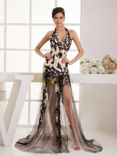 [US$215.99] Applique Featured Taffeta Evening Dress with Sheer Tulle Overskirt